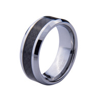 Wholesale 8mm Tungsten Carbide Mens Ring Black Carbon Fiber Inlay Jewelry Wedding Band Gift for Men Women TU007R
