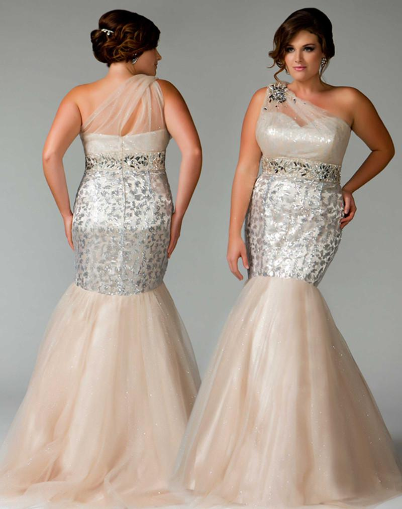 Fabulous Champagne Beads Plus Size Prom Dresses Mermaid Sequins ...