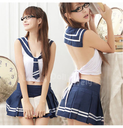 Wholesale NEW Sexy baby doll lingerie Student Dress Set sexy lingerie women sleepwear ninghtwear sexy Pajamas with G string blu