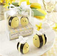bee bottle opener - EMS baby shower souvenirs wedding favor gift Sweet as Can Bee Ceramic Salt and Pepper Shakers sets K07654