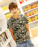 Men Cotton Round 2014 NWT Summer Men's Fashion Camouflage Printing Short Sleeve Tee Popular Boys Necessary O-neck T-shirts