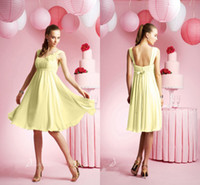 Reference Images Ruched Sleeveless 2014 Cheapest A Line Chiffon Bridesmaid Dresses with Hand Made Flower Ruched Square Neckline Zipper Knee Length Junior Party Dress DX607