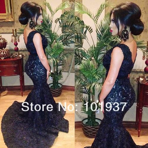 Buy Black Formal Long Evening Dresses Sexy V Neck Cap Sleeve vestidos formales Applique Lace Backless Court Train Mermaid Prom