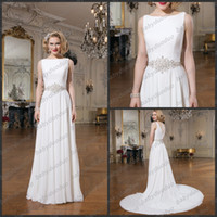 A-Line Reference Images Bateau Justin Alexander 8733 Chiffon A line Sabrina neckline V back bead belt wedding dresses chapel train covered crystal buttons birdal gown 2015