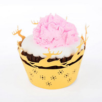 Wholesale cheap deer Cupcake wrapper laser cut elk wedding birthday decoration cupcake paper box