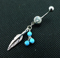 aqua face - 0170 Belly Button Navel Rings Dangle dream catcher Accessories Fashion nice Charm aqua color CZ