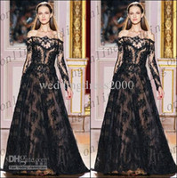 Reference Images Off-the-Shoulder Lace Vintage A-line Strapless Floor Length Lace Applique Long Sleeves Prom Dresses Zuhair Murad Black PM1316