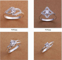 Wholesale Mixed style silver Zircon Rings for Anniversary Party Wedding Fashion Couples Women Men