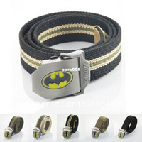 Wholesale New Stainless Steel Buckle Military Army Style DC Comics Batman The Dark Knight Rises Superhero Men Women Unisex Web Canvas Belt