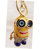 Wholesale 201404Q Korean fashion pendant small yellow monster who covered buttons Daddy Keychain thief Color sent at random