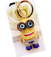 Wholesale 201404Q Korean fashion pendant small yellow monster who covered buttons Daddy Keychain diamond thief Color sent at random