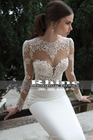 Wholesale The most Ailei Si season imported French lace long sleeved satin halter waist fishtail bridal wedding dress