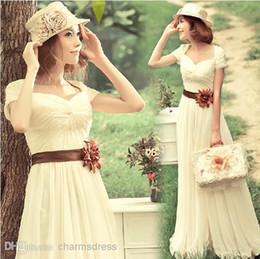 Wholesale 2014 graduation dresses Champagne A line Floor length V neck Short sleeves chiffon Prom Dresses long Evening gowns