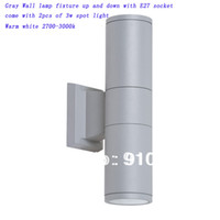 Wholesale aluminum gray LED wall lights fixture outdoor with of E27 w spot light Vac warm while K buy