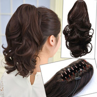 Wholesale Women Clip in Hair Extensions Curly Ponytail Hairpiece Accessories Colors