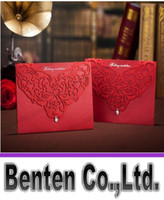 Invitation Cards Folded Red LLFA4755 Free shipping Top grade perfect red hellow out Invitation card Wedding Invitations come envelopes sealed