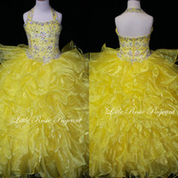 Real Photos Girl Beads 2014 Pretty Organza Ball Gown Pageant Dress With Ruffles Halter Top Beaded Yellow Little Girls Pageant Party Gown LR2003