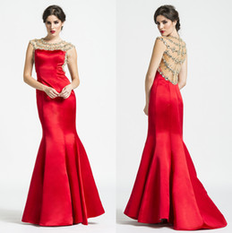 Wholesale 2015 Amazing Ashley Lauren Red Satin Sexy Evening Dresses Mermaid Sheer Illusion Back Beadings Pleated Formal Gown Prom Dresses