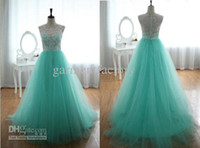 actual product - Actual Product Cheap College Graduation Dresses A Line Sheer Crew Floor Length Green and White Lace and Tulle Puffy Prom Party Gowns
