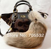 Wholesale Natural Fox Fur Tail Keychain Tassel Bag Handbag Pendant Accessory Purse