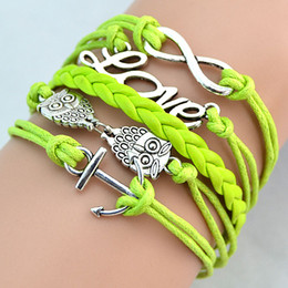 Wholesale Fashion Bracelets Leather Weave Bracelets Antique Charm Love Owl Anchor Colors Mix Wrist Bands Jewellery DHL