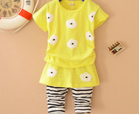 Cheap Girl Baby Girls Suit Sun Flowe Best Spring / Autumn Short Full Cotton Short Sleeve