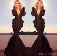 Wholesale Michael Costello Deep V Neck Black Glamorous Brown Evening Dresses Sweep Train Long Sleeve Sexy Sheath Keyhole Peplum Prom Gown Custom Made