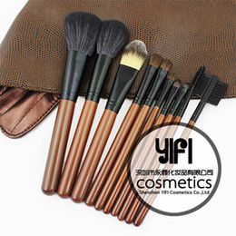 Wholesale 10 Pieces Coffee Basic Makeup Brush Set Wood Handle Synthetic Hair Makeup Tools Kit