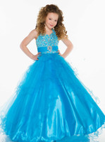 Wholesale 2014 Stunning Rhinestone Bodice Ball Gown with Empire Waist Ruffle Coral Girls Pageant Dress Sugar S