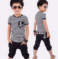 Unisex Summer o-neck Hot selling 2013 summer navy sailor style baby boys short-sleeve stripe t-shirt trousers set child clothing 2pcs set cotton suit