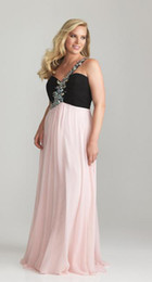 Wholesale Ruched Empire Waist One Shoulder Plus Size Special Occasion Dresses with Crystal Beaded Strap Accent Flowing Chiffon Prom Party Gowns w