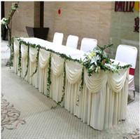 Wholesale Fashion Ice Silk ft Wedding Table Skirt European style Table Curtain