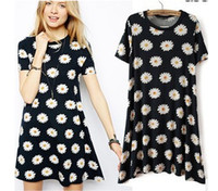 Work Mini Women New 2014 Women Spring Summer New Fashion Show Women Small Daisy Print Short sleeve Loose Dress female Classy Dresses