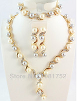 Wholesale Gold Plated Clear Crystal Party Pearl Necklace Set Fashion Pearl Women Wedding Jewelry Sets