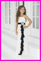 Wholesale LM Cheap Black And White Chiffon Sash Long Junior Bridesmaid Flower Girl Dresses Tiered Pageant Dress