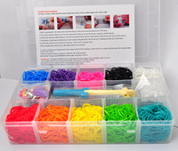 Wholesale Newest rainbow loom bands kit Bracelet clear plastic box for Kids DIY bracelets come with rubber bands clips hook