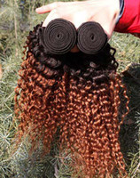 Chinese Hair Natural Wave  Bestbuy ombré hair extensions kinky curly Brazilian Ombre Hair Weave 2 Tone Color 1b #33 Human Ombre Hair Extensions Weave 4 bundles