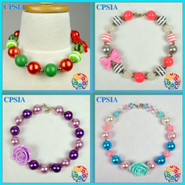 Wholesale 02 DHL New Style Nice Imitation Pearl Kids Chunky Bubblegum Necklace For Girls Assorted Designs