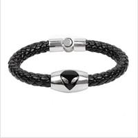 Wholesale 100pcs Men Black Leather Bracelet Alien Pendant Weaving Magic Magnetic Buckle Bracelet Bohemian Charm