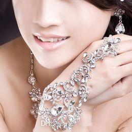 Wholesale In Stock elegant wedding Bridal Jewelry Crystal Rhinestone Finger Ring Bracelet wristband Bracelet