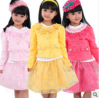 Girl Spring / Autumn Long new spring baby clothes set cool boy 3 pcs suits t-shirt+coat+skirt children garment Wholesale