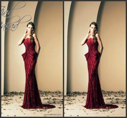 Robes de pagent perles en Ligne-Top Luxe Charme Ziad Nakad Sparking Robes de soirée sirène Plein paillettes perlées Sans bretelles Robes de cérémonie sans manches Formes Long Pagent