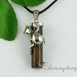 cat's eye rose quartz agate jade semi precious stone frog column necklaces pendants genuine stone jewelry natural stone pendant