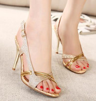 Wholesale 2014 New fashion high heels sandals gold shoes dress shoes CM sexy wedding shoes cheap glitter shoes EU34 ePacket shipping
