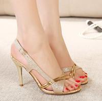 Cheap chic New fashion high heels sandals gold shoes dress shoes 10CM sexy wedding shoes cheap glitter shoes EU34 ePacket shipping