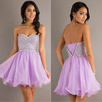 Model Pictures Strapless Chiffon Cheap Cute Lilac Chiffon College Graduation Dresses Sparkly Sexy Beaded Homecoming Short Prom Party Cocktail Gowns Girl 2014 SD103 In Stock