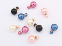Wholesale Mix Color Charm Little Pearl Stud Women Double Face Two Sided Pearl Ball Earring Jewelry Gold Plate Girl Stud