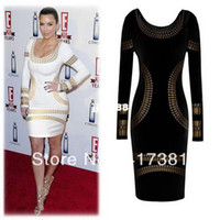 Casual Dresses Round A Line Free shipping 2014 new Kim Kardashian beaded full length SEXY Bodycon cotton dresses evening prom cerebrity dropship