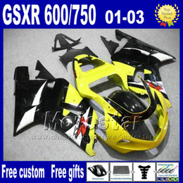 7gifts Full fairing kit for SUZUKI K1 2001 2002 2003 GSX-R600 GSX-R750 black yellow motorcycle fairings 01 02 03 GSX R600 750+Seat Cowl