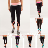 Wholesale 2014 Lululemon woman yoga wunder under crop online Bottom with color strip available for size4